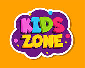 Playroom label. Kids zone colorful sticker design. Baby playing room decoration vector sign