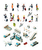 Airport terminal. People pilots flight attendants travellers airport interior luggage boarding ticketing vector isometric