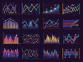 Line charts curves. Vector growth business graphic info vertical columns data model vector infographic elements