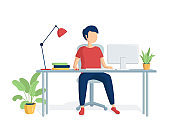 A schoolboy is doing homework online. The boy sits at a computer table. Distance education. E-learning. Remote schooling. Vector illustration in a flat style
