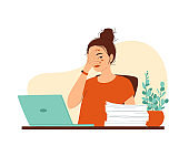 Young woman sits at a table with a laptop and a pile of documents. Hand covers the face. Concept of a very busy job, a lot of work, deadline, burnout, emotional exhaustion. Vector illustration
