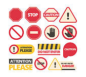 Attention signs. Stop walking and of route dont disturb help signals vector admittance signboards collection