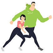 Jogger couple. Man and woman in sportswear running.