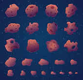 Asteroids. Space rocks stars and fantasy planets vector asteroids collection burning stones