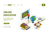 Online education landing. Knowledge learning processes training processes distance courses for student vector isometric web page template