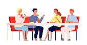 Friends eating. Happy people meeting and have a dinner sitting at the table in restaurant or cafe vector characters