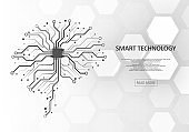 Technological brain and machine learning concept
