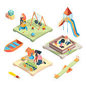 Playground isometric. Place for funny games kids preschool playing with babysitter in amusement park toys vector pictures