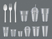 Disposable utensils. Plastic tableware knives forks spoons glasses cups vector realistic template