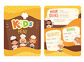 Kids menu. Childrens cooking food little chef restaurant eating menu for little happy peoples vector cartoon template