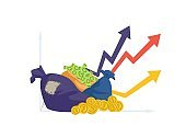 Financial performance. Money bag, coins and cash. Business success, investments profit vector illustration