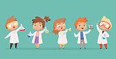 Chemistry kids. Science children school characters in lab vector cartoon people