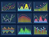 Line charts. Modern infographic set diagrams curves development graphs histogram info vector set