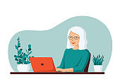 Elderly gray-haired smiling pensioner woman sits at a computer. The concept of remote work from home for retired people. Flat cartoon vector illustration
