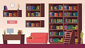 Library interior. Book shelves, info point with computer. Reading or study room vector illustration