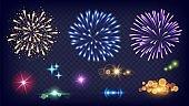 Shine fireworks. Glow splashes, realistic fire festive lights. New year night sparkles elements vector set