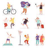 Old people with gadgets. Elderly lifestyle making selfie smartphone various activities vector cartoon set