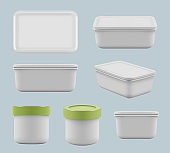 Plastic boxes. Caring food in containers square empty storage utensil for kitchen vector realistic templates