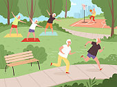 Elderly park activity. Older people grandparents walking in urban park healthy lifestyle of happy senior recreation exercises vector