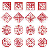 Korean ornament. Traditional asian geometrical texture circles and squares vector authentic designs collection
