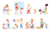 Children housework. Cleaning room washing appliance boys and girls helping parents vector cartoon people