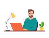 Happy smiling man in glasses sits at a table with a laptop. Concept of work, training, retraining, courses via the Internet, e-learning. An employee at work in the office. Vector illustration