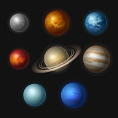 Planet systems. Realistic universe objects stars systems astronomy moon gravity jupiter vector collection