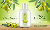 Olive cosmetics. Promotional banners beauty woman natural face skin care protection oil vitamin vector template