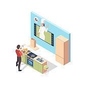 Cooking online. Preparing food broadcasting lesson chef teaching in kitchen online vector isometric concept