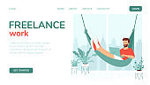 Template concept for landing page, freelance website start page, remote work, training, e-learning. Young man lies in a hammock with laptop near a large window and houseplants. Vector illustration