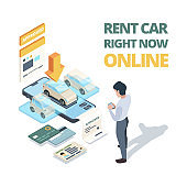 Rent car online. Digital buying automobile or car sharing service dealership online shopping vector isometric concept