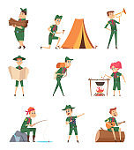 Rangers kids. Little scouts in green uniform survival characters with backpack studying vector childrens