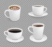 Coffee cup. Breakfast hot drinks espresso cappuccino with foam cup vector realistic