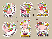 Unicorn badges. Fashion labels set or stickers with fairytale characters vector retro objects set