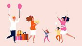 Girl birthday party. Family festive, happy people with gifts, balloons and cake. Parenthood and friendship, children and adults vector illustration