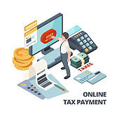 Online payment invoice. Tax bills accounting services vector isometric concept
