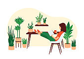 A young woman sits on a chair and reads a book in a room with a lot of houseplants. Home relaxation concept. Flat vector illustration.