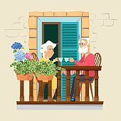 Elderly couple on balcony. Neighborhood, stay home concept. Cute old man and woman drink tea on floral terrace vector illustration