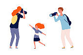 Parents and kid. Mother and father making photo their child. Happy family time, cute baby girl vector illustration