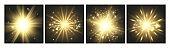 Shining lights. Gold cards, glowing effects collection. Luxury celebration decorative vector elements