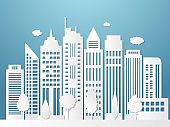 Papercut city. Origami urban landscape white silhouettes with shadows business offices outdoor vector wallpaper