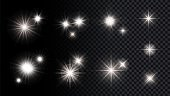 Shine silver stars. Isolated lights, festival party anniversary vector decorative elements collection