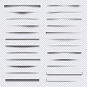Shadow dividers. Realistic web elements frames soft shadows overlay effects vector set
