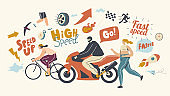 Speed Concept. Male Female Characters Riding Bicycle and Motorbike, Running Fast. Motocross, Rally and Race Competition