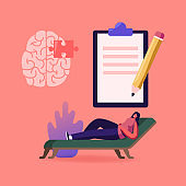 Patient Character at Psychologist Appointment, Depressed Woman Client in Clinic Lying on Couch Need Doctor Specialist Professional Help. Mind Health Problem, Hypnosis. Cartoon Vector Illustration