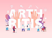 Arthritis Sickness Concept. People with Diseased Joints Visiting Doctors Characters at Hospital or Rheumatology Clinic. Medicine, Health Care Expertise Poster Banner Flyer. Cartoon Vector Illustration