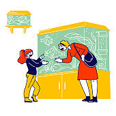 Woman with Daughter Visiting Pet Shop for Choosing and Buying Aquarium and Fish. Customers Characters at Zoo Market Walking among Stands with Tropical Fishes. Linear People Vector Illustration