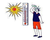 Man Pouring Water from Bottle on Head Avoiding Heat Stroke under Fierce Heating Sun Rays. Male Character Suffering of High Temperature during Summer Time at Home or Outside. Linear Vector Illustration