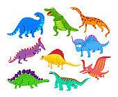 Cute Baby Dinosaurs, Dragons and Funny Dino Characters Set. Isolated Fantasy Colorful Prehistoric Happy Wild Animals Tyrannosaurus Rex, Stegosaurus, Pterodactyl Figures. Cartoon Vector Illustration