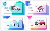 Characters on Car Market Landing Page Template Set. Choose and Buy Automobiles. Dealer in Showroom, Salesman Give Key to Client. Auto Salon Business, Dealership. Cartoon People Vector Illustration